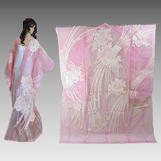 Organza Japanese Kimono, Pink, Transparent Wedding Overdress