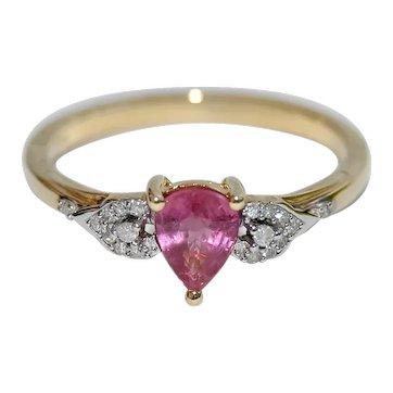 Rare Padparadscha Sapphire with Diamonds Ring