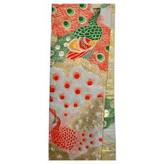 Embroidered Peacock Japanese Obi Golden Textile Art Wall Hanging Interior Decor