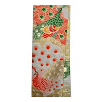 Japanese Obi Peacock Golden Textile Art Wall Hanging Interior Decor