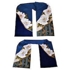 Japanese Kimono Silk Fabric 2 Panels, Floral Hanoyome Noren Curtain, Wall Decor