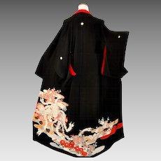 Ho-o Phoenix Kimono, 1930 Japanese Kurotomesode, Silk, Yuzen