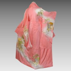 Japanese Silk Kimono Long Sleeves with Gold Imperial Embroidery
