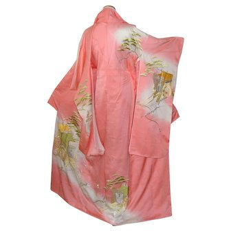 Japanese Silk Furisode Kimono With Long Sleeves and Gold Imperial Embroidery