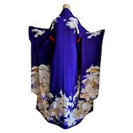 Rare Gion Geisha Kimono Floral, Silk Yuzen