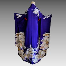 Black Friday Sale Geisha of Kyoto Kimono Furisode Floral Silk Yuzen and Embroidery