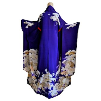 Geisha of Kyoto Kimono Furisode Floral Silk Yuzen and Embroidery