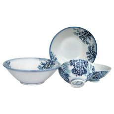 Beautiful Ramen and Tea Bowls Blue White Mikawachi Porcelain Set of 4