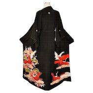 Japanese Kuro Kimono Silk Robe with Cranes and Lucky Motifs Embroidery