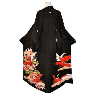 Kurotomesode Japanese Kimono, Silk Robe with Cranes