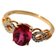 Rubellite Red Tourmaline Solitaire Ring with Diamonds
