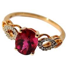 Rare Genuine Rubellite Red Tourmaline Solitaire Ring with Diamonds