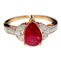 18K Gold Rubellite Ring Pear Cut and Diamonds
