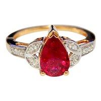 Estate Rubellite Tourmaline 18K Gold Ring Pear Cut and Diamonds