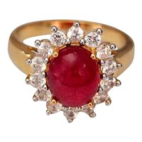 3.25cts Ruby Cabochon White Sapphire Halo Ring
