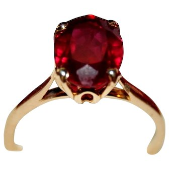 Ruby Solitaire 14K Gold, 3 ct Cathedral Setting Engagement Ring