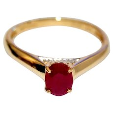 Burma Ruby Ring, 14k Gold, Cathedral setting, Solitaire with Diamonds Engagement Ring, July birthstone, Precious Gemstone
