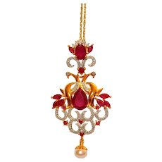 Ruby Diamond Pearl Chandelier Pendant Necklace 5.75 tcw