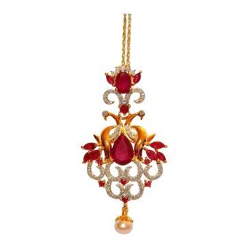 Ruby Diamond Pearl Chandelier Pendant Necklace 5.75 tcw