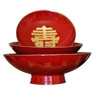 Japanese Lacquer Sake/Tea Set with Cypress Wood Box, Ceremonial Sakazuki Cups