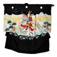 Samurai Silk Kimono Japanese Traditional Young Male Shrine Outfit Robe