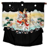 Samurai Japanese Silk Kimono, Traditional Boys Robe