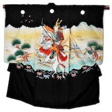 Samurai Japanese Silk Kimono, Traditional Boys Robe