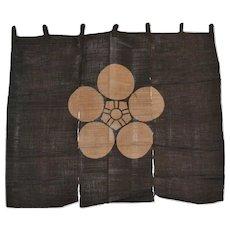 Samurai Hemp Noren Curtain, Japanese Panels, Brown Window Dressing
