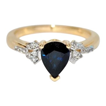 Untreated Dark Blue Sapphire 18K Gold Ring with Diamonds, 1.67cts, 3.75 grams