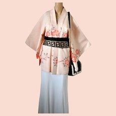 Japanese Silk Shibori Haori Kimono Tie Dye Cherry Blossom
