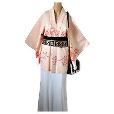 Silk Shibori Cherry Blossom Haori Kimono, Japanese, 1960