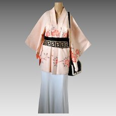 Silk Shibori Haori Kimono Cherry Blossom, Japanese, 1960