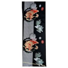 ShiShi Lions Foo Dogs Japanese Silk Fabric for Obi or Curtains