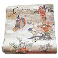 BLACK FRIDAY Japanese Silk Obi with Hinamatsuri Girls Festival Garden