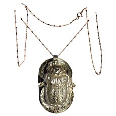 Silver Egyptian Scarab Beetle with Hieroglyph Pendant Necklace