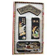 Nagasaki Japan Gansui Decorated Sumi Ink Sticks For Calligraphy and Painting in Original Box