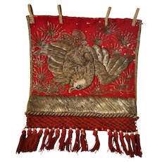 19th Century Japan Sumo Wrestler's Ceremonial Apron (Kesho Mawashi) with Golden Eagle Embroidery