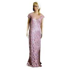 Designer Tadashi Shoji Lace Sequined Dress Gown