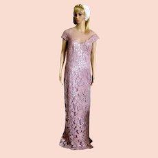 Designer Tadashi Shoji Lace Sequined Dress Gown Blush Metallic Embroidery
