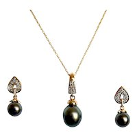 Tahitian Pearl with Diamond Demi-Parure Set Earrings Necklace