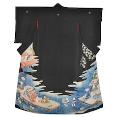 1920s Japanese Kimono with Courtesans from the Edo Pleasure Quarters One-Of-A-Kind