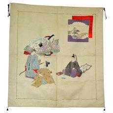 Tales of Genji Japanese Silk Fukusa, Tea ceremony mat, Wall hanging, Tapestry