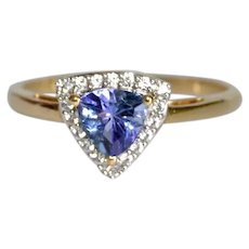 Estate Tanzanite Trillion cut Diamond Accent Ring