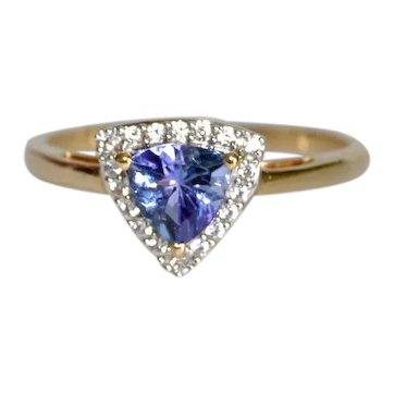 Estate Tanzanite Trillioncut Diamond Accent Ring