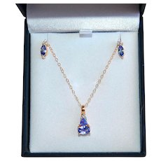 Tanzanite Set Necklace Earrings 1.65cts