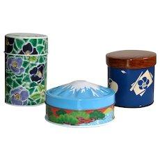Mount Fuji, Tsubaki, Japanese Tea Canisters Set of 3