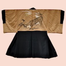 Japanese Mens Kimono Silk Black Tiger Montsuki Jacket Reversible