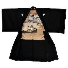 Japanese Men's Kimono Haori Montsuki with Tiger and Dragon Doi Shogun Clan