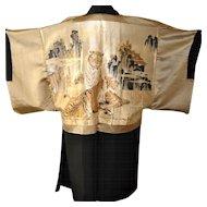 Japanese Haori Kimono, Men's Silk Robe Jacket, Black Montsuki
