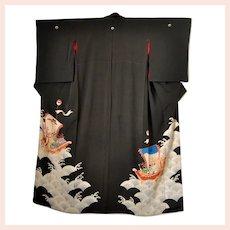1920 Japanese Silk Kimono Ho-o Bird Dragon Treasure Boats Wedding Kurotomesode